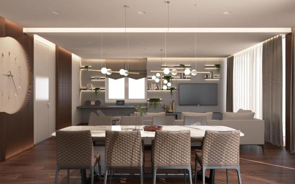 Penthouse - kitchen - dining area - living room - tv -modern